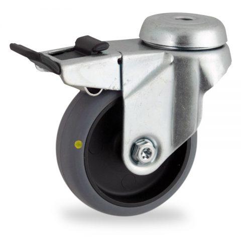 Okretni točak sa kočnicom,50mm za lagana kolica, sa točkom od elektroprovodna termoplastika siva guma osovina kliznog ležaja montaža sa otvor - rupa