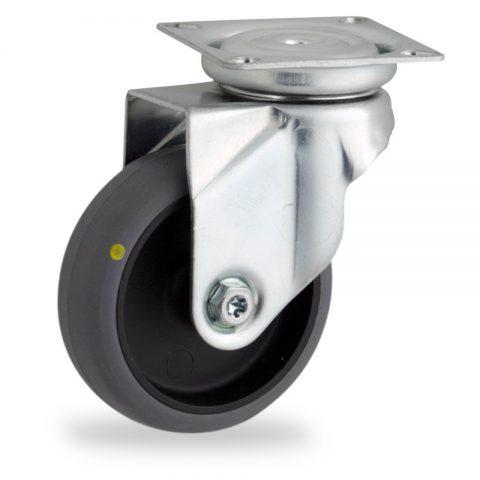 Okretni točak,50mm za lagana kolica, sa točkom od elektroprovodna termoplastika siva guma osovina kliznog ležaja montaža sa gornja ploča