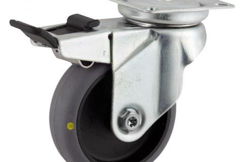 Okretni točak sa kočnicom,75mm za lagana kolica, sa točkom od elektroprovodna termoplastika siva guma osovina kliznog ležaja montaža sa gornja ploča