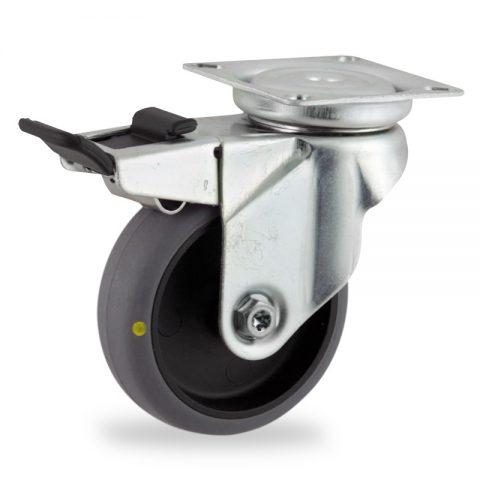 Okretni točak sa kočnicom,50mm za lagana kolica, sa točkom od elektroprovodna termoplastika siva guma osovina kliznog ležaja montaža sa gornja ploča