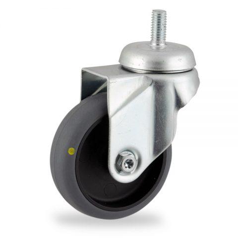 Okretni točak,100mm za lagana kolica, sa točkom od elektroprovodna termoplastika siva guma osovina kliznog ležaja montaža sa navoj