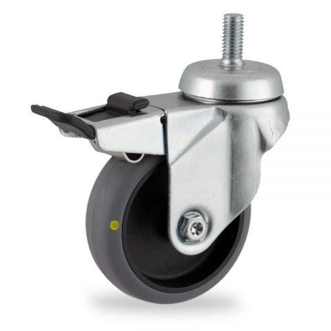 Okretni točak sa kočnicom,100mm za lagana kolica, sa točkom od elektroprovodna termoplastika siva guma osovina kliznog ležaja montaža sa navoj