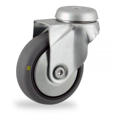 Okretni točak,75mm za lagana kolica, sa točkom od elektroprovodna termoplastika siva guma osovina kliznog ležaja montaža sa otvor - rupa