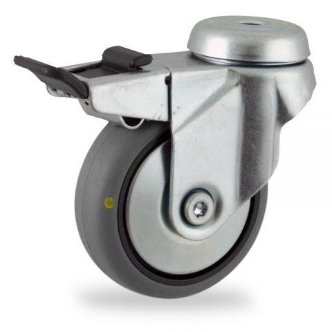 Okretni točak sa kočnicom,75mm za lagana kolica, sa točkom od elektroprovodna termoplastika siva guma osovina kliznog ležaja montaža sa otvor - rupa