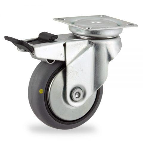 Okretni točak sa kočnicom,125mm za lagana kolica, sa točkom od elektroprovodna termoplastika siva guma osovina kliznog ležaja montaža sa gornja ploča