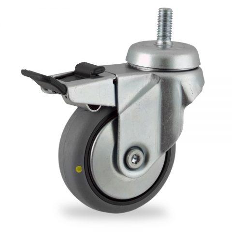 Okretni točak sa kočnicom,75mm za lagana kolica, sa točkom od elektroprovodna termoplastika siva guma osovina kliznog ležaja montaža sa navoj