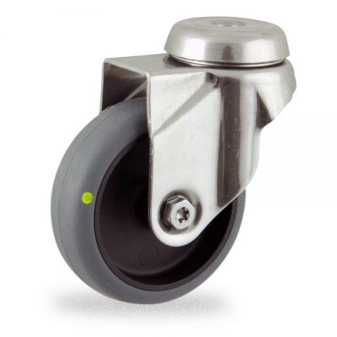 INOX Okretni točak,75mm za lagana kolica, sa točkom od elektroprovodna termoplastika siva guma osovina kliznog ležaja montaža sa otvor - rupa