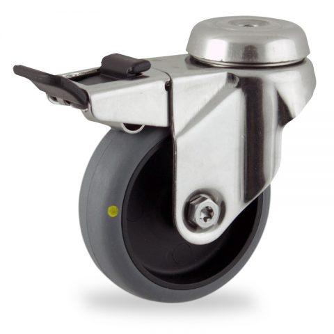 INOX Okretni točak sa kočnicom,75mm za lagana kolica, sa točkom od elektroprovodna termoplastika siva guma osovina kliznog ležaja montaža sa otvor - rupa