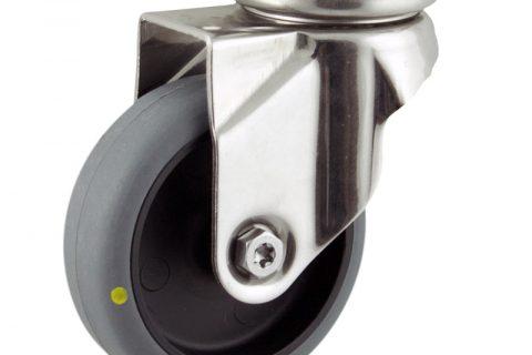 INOX Okretni točak,75mm za lagana kolica, sa točkom od elektroprovodna termoplastika siva guma osovina kliznog ležaja montaža sa gornja ploča