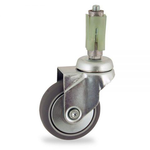 Okretni točak,100mm za lagana kolica, sa točkom od termoplastika siva neobeležena guma kuglični ležajevimontaža sa ekspander