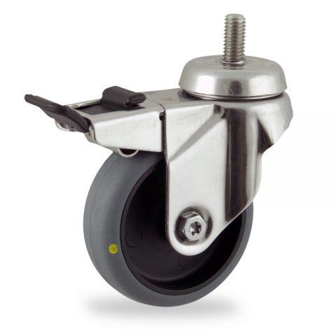 INOX Okretni točak sa kočnicom,100mm za lagana kolica, sa točkom od elektroprovodna termoplastika siva guma osovina kliznog ležaja montaža sa navoj