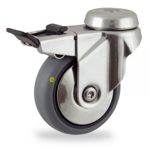 INOX Okretni točak sa kočnicom,50mm za lagana kolica, sa točkom od elektroprovodna termoplastika siva guma osovina kliznog ležaja montaža sa otvor - rupa