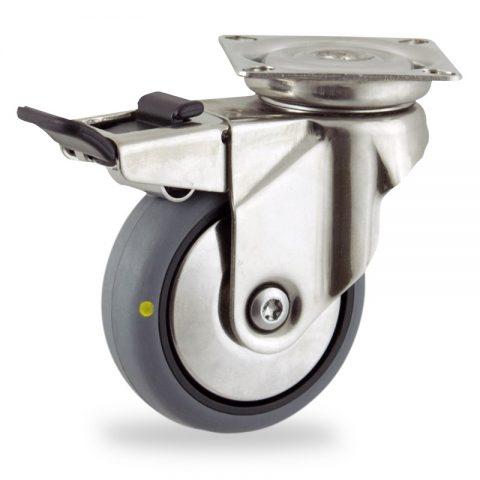 INOX Okretni točak sa kočnicom,125mm za lagana kolica, sa točkom od elektroprovodna termoplastika siva guma osovina kliznog ležaja montaža sa gornja ploča