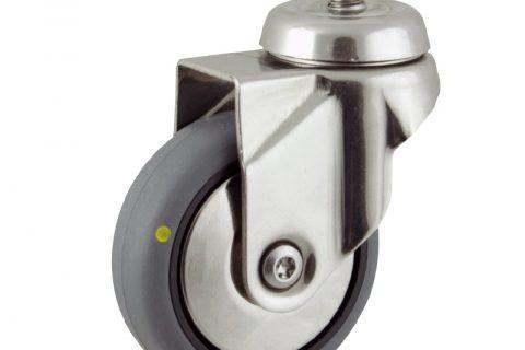 INOX Okretni točak,75mm za lagana kolica, sa točkom od elektroprovodna termoplastika siva guma kuglični ležajevimontaža sa navoj