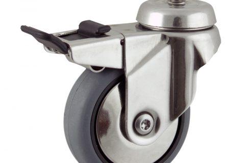 INOX Okretni točak sa kočnicom,125mm za lagana kolica, sa točkom od elektroprovodna termoplastika siva guma kuglični ležajevimontaža sa navoj