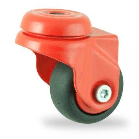 Okretni točak,50mm za lagana kolica, sa točkom od termoplastika crna neobeležena guma osovina kliznog ležaja montaža sa otvor - rupa