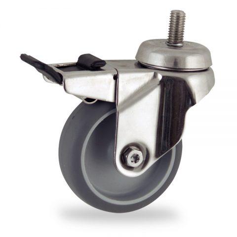 INOX Okretni točak sa kočnicom,75mm za lagana kolica, sa točkom od termoplastika siva neobeležena guma kuglični ležajevimontaža sa navoj