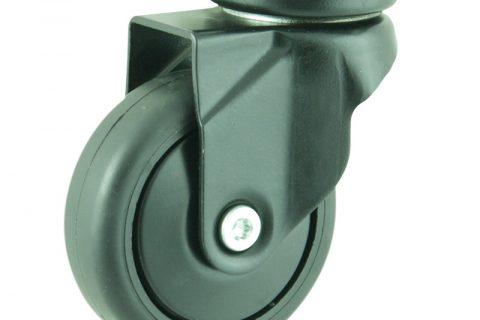 Okretni točak,75mm za lagana kolica, sa točkom od termoplastika crna neobeležena guma osovina kliznog ležaja montaža sa gornja ploča