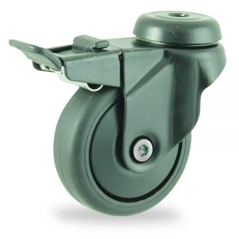 Okretni točak sa kočnicom,75mm za lagana kolica, sa točkom od termoplastika crna neobeležena guma osovina kliznog ležaja montaža sa otvor - rupa