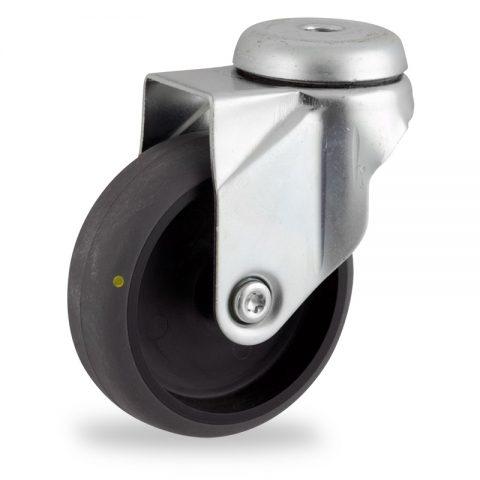 Okretni točak,100mm za lagana kolica, sa točkom od elektroprovodna termoplastika siva guma osovina kliznog ležaja montaža sa otvor - rupa