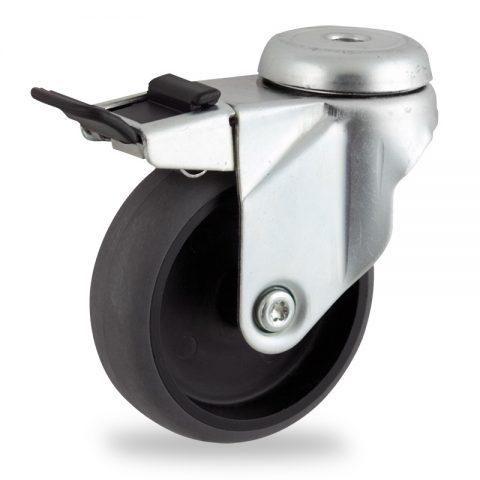 Okretni točak sa kočnicom,100mm za lagana kolica, sa točkom od elektroprovodna termoplastika siva guma osovina kliznog ležaja montaža sa otvor - rupa