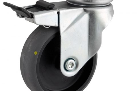 Okretni točak sa kočnicom,100mm za lagana kolica, sa točkom od elektroprovodna termoplastika siva guma osovina kliznog ležaja montaža sa gornja ploča