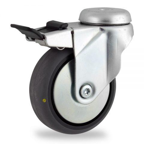 Okretni točak sa kočnicom,150mm za lagana kolica, sa točkom od elektroprovodna termoplastika siva guma osovina kliznog ležaja montaža sa otvor - rupa