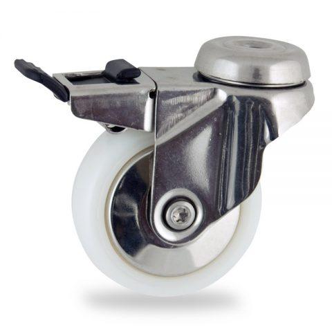 INOX Okretni točak sa kočnicom,50mm za lagana kolica, sa točkom od poliamid tip 6 osovina kliznog ležaja montaža sa otvor - rupa