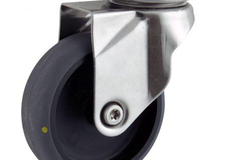 INOX Okretni točak,100mm za lagana kolica, sa točkom od elektroprovodna termoplastika siva guma osovina kliznog ležaja montaža sa gornja ploča