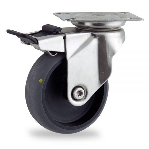 INOX Okretni točak sa kočnicom,100mm za lagana kolica, sa točkom od elektroprovodna termoplastika siva guma osovina kliznog ležaja montaža sa gornja ploča