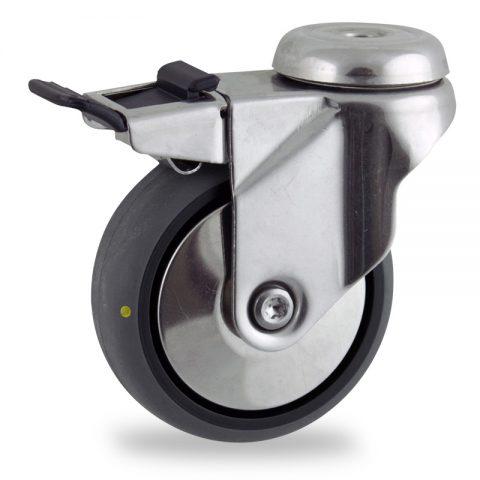 INOX Okretni točak sa kočnicom,150mm za lagana kolica, sa točkom od elektroprovodna termoplastika siva guma osovina kliznog ležaja montaža sa otvor - rupa