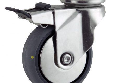 INOX Okretni točak sa kočnicom,150mm za lagana kolica, sa točkom od elektroprovodna termoplastika siva guma osovina kliznog ležaja montaža sa gornja ploča