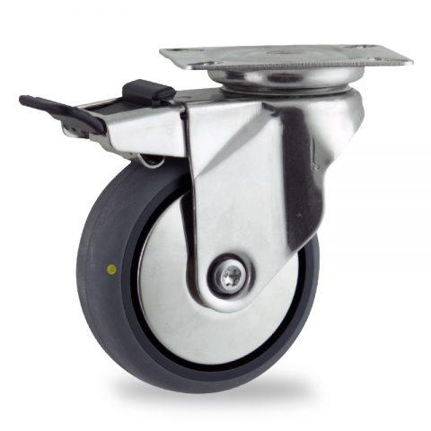 INOX Okretni točak sa kočnicom,75mm za lagana kolica, sa točkom od elektroprovodna termoplastika siva guma osovina kliznog ležaja montaža sa gornja ploča