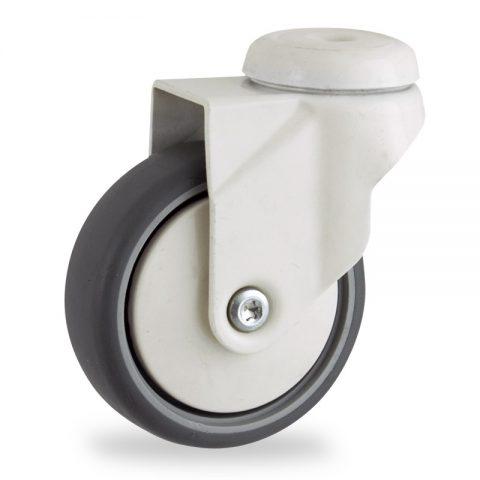 Okretni točak,100mm za lagana kolica, sa točkom od termoplastika siva neobeležena guma osovina kliznog ležaja montaža sa otvor - rupa