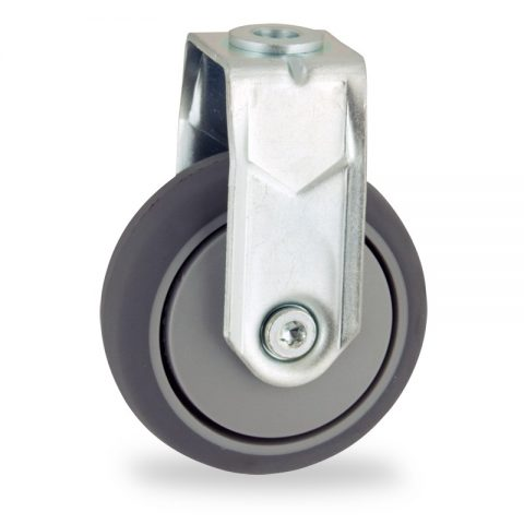 Fiksni točak,75mm za lagana kolica, sa točkom od termoplastika siva neobeležena guma osovina kliznog ležaja montaža sa otvor - rupa