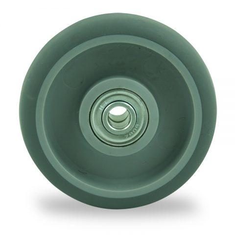 Točak 75mm za lagana kolica, sa točkom od termoplastika siva neobeležena guma kuglični ležajevi