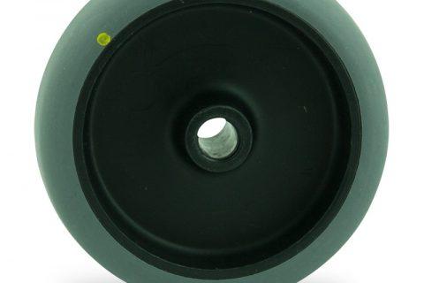 Točak 125mm za lagana kolica, sa točkom od elektroprovodna termoplastika siva guma osovina kliznog ležaja