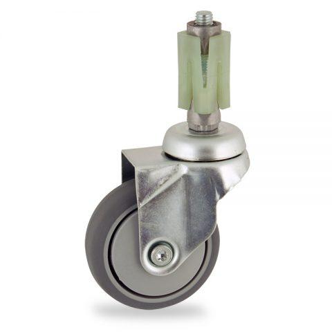 Okretni točak,75mm za lagana kolica, sa točkom od termoplastika siva neobeležena guma osovina kliznog ležaja montaža sa ekspander