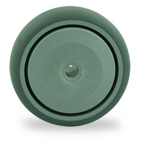 Točak 75mm za lagana kolica, sa točkom od termoplastika siva neobeležena guma osovina sa jednokugličnim ležajem