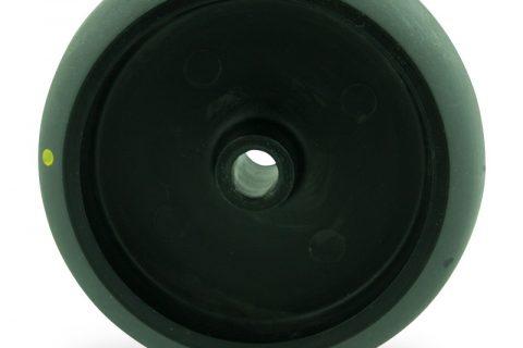 Točak 75mm za lagana kolica, sa točkom od elektroprovodna termoplastika siva guma osovina kliznog ležaja