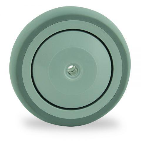 Točak 125mm za lagana kolica, sa točkom od termoplastika siva neobeležena guma osovina sa jednokugličnim ležajem