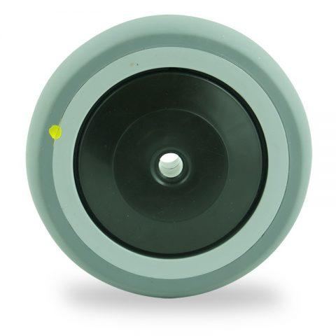 Točak 125mm za lagana kolica, sa točkom od elektroprovodna termoplastika siva guma osovina sa jednokugličnim ležajem