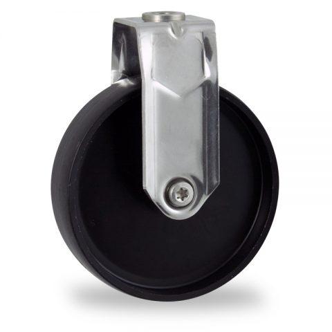 INOX Fiksni točak,75mm za lagana kolica, sa točkom od polipropilen  osovina kliznog ležaja montaža sa otvor - rupa