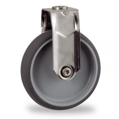 INOX Fiksni točak,125mm za lagana kolica, sa točkom od termoplastika siva neobeležena guma kuglični ležajevimontaža sa otvor - rupa