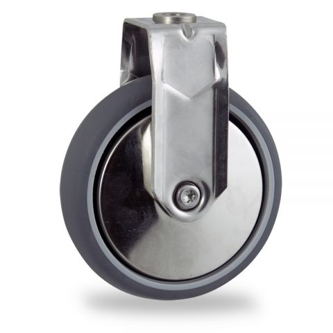 INOX Fiksni točak,150mm za lagana kolica, sa točkom od termoplastika siva neobeležena guma osovina kliznog ležaja montaža sa otvor - rupa