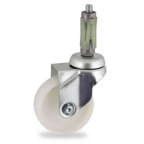Okretni točak,100mm za lagana kolica, sa točkom od poliamid tip 6 osovina kliznog ležaja montaža sa ekspander