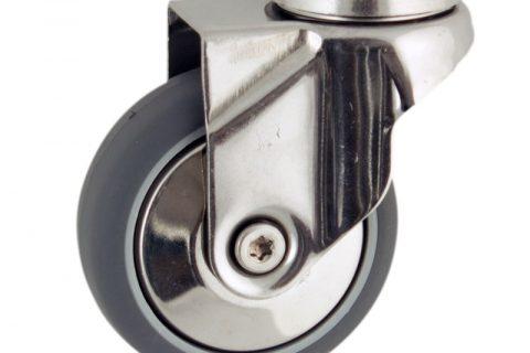 INOX Okretni točak,125mm za lagana kolica, sa točkom od termoplastika siva neobeležena guma osovina kliznog ležaja montaža sa otvor - rupa