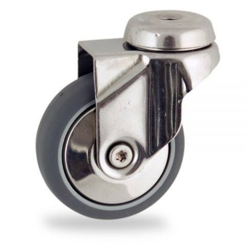 INOX Okretni točak,100mm za lagana kolica, sa točkom od termoplastika siva neobeležena guma osovina kliznog ležaja montaža sa otvor - rupa