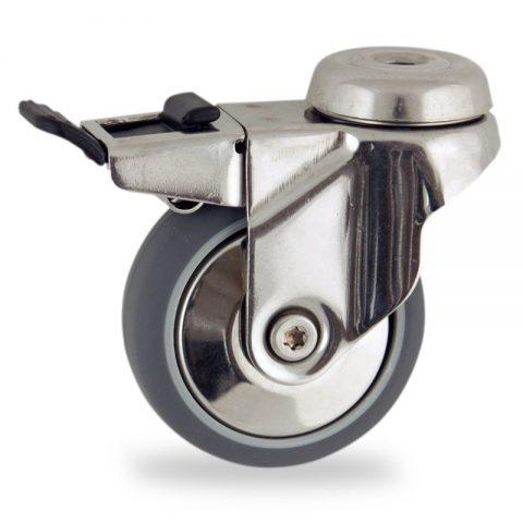 INOX Okretni točak sa kočnicom,100mm za lagana kolica, sa točkom od termoplastika siva neobeležena guma kuglični ležajevimontaža sa otvor - rupa