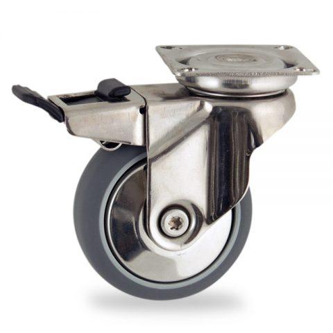 INOX Okretni točak sa kočnicom,125mm za lagana kolica, sa točkom od termoplastika siva neobeležena guma kuglični ležajevimontaža sa gornja ploča